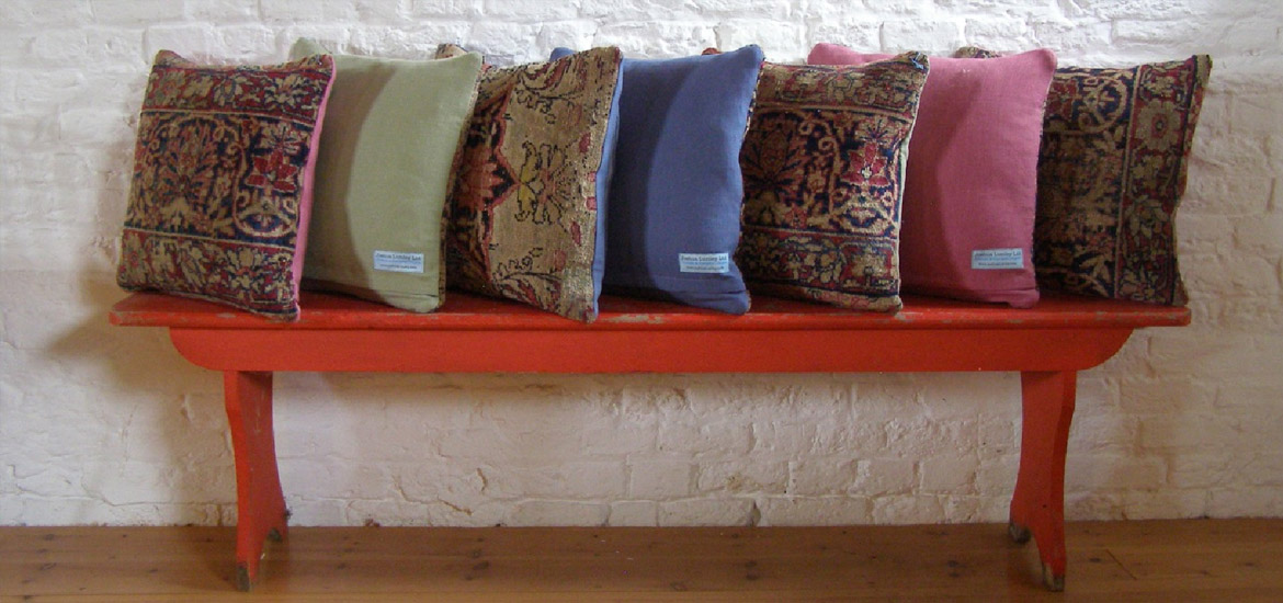 Cushions on red bench